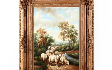 A Contemporary Decorative Painting of Sheep in a