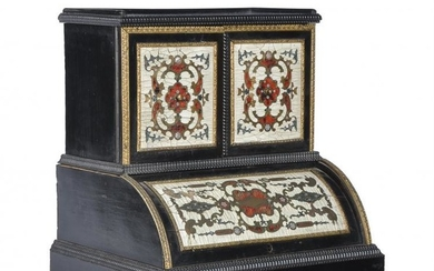 A Continental, probably French, ebonised, marquetry and gilt metal mounted table top cabinet in late 17th century taste