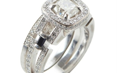 A DIAMOND AND SAPPHIRE RING BY CANTURI