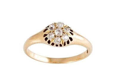 A DIAMOND CLUSTER RING, the old cut diamonds mounted in 18ct...