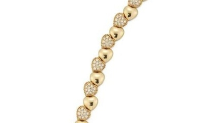 A DIAMOND SET HEART LINK BRACELET, the heart shaped