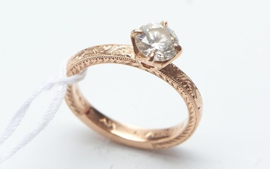 A DIAMOND SOLITAIRE RING IN 14CT PINK GOLD, CENTRALLY SET WITH A ROUND BRILLIANT CUT DIAMOND OF 0.80CT BY LINA JEWELS HAWAII, SIZE K...