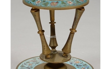 A FRENCH GILT BRASS AND CHAMPLEVE ENAMEL VASE - STAND, THE R...