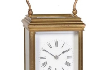 A French gilt brass carriage clock