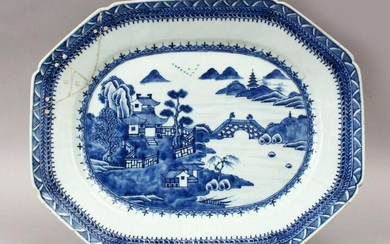 A GOOD 18TH CENTURY CHINESE QIANLONG BLUE & WHITE