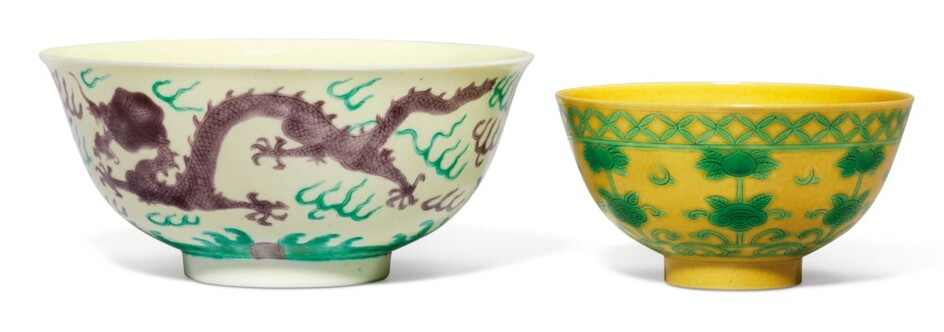 A GREEN AND AUBERGINE-ENAMELLED YELLOW-GROUND 'DRAGON' BOWL AND A GREEN-ENAMELLED YELLOW-GROUND 'PEACH' BOWL, THE 'DRAGON' BOWL: GUANGXU SIX-CHARACTER MARK IN UNDERGLAZE BLUE AND OF THE PERIOD (1875-1908) THE 'PEACH' BOWL: 19TH CENTURY