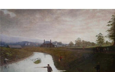 A LARGE 19TH CENTURY OIL ON CANVAS American provincial schoo...