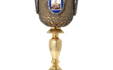 A LARGE SILVER-GILT AND ENAMEL CHALICE, MAKER'S MARK CYRILLIC 'P.B', MOSCOW, EARLY 19TH CENTURY