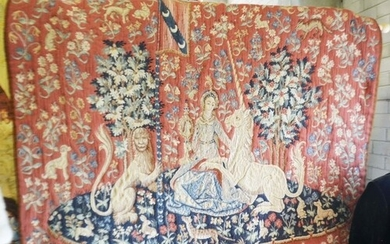 A Machined tapestry wall hanging depicting The Lady and the ...