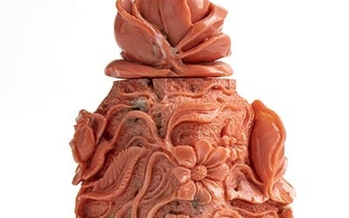A Momo or Cerasuolo coral (Corallium Elatius) bottle shaped sculpture....
