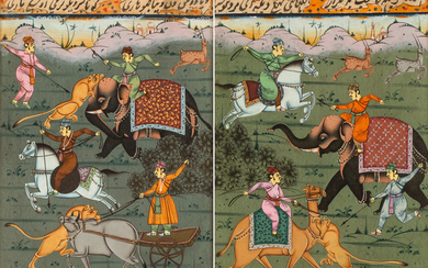 A PAIR OF MUGHAL INDIAN MINIATURES WITH HUNTING SCENES, 19TH CENTURY