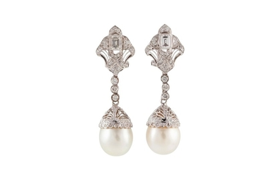 A PAIR OF SOUTH SEA CULTURED PEARL AND DIAMOND DROP EARRINGS...