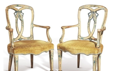A PAIR OF VENETIAN NEOCLASSICAL BLUE AND CREAM PAINTED ARMCHAIRS, SECOND HALF 18TH CENTURY
