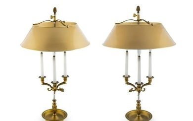 A Pair of Empire Style Bouillotte Lamps Height overall