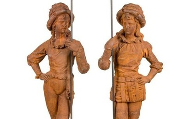 A Pair of French Cast Iron Figures