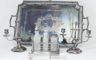 A Pair of French Plated Two Light Candelabra, and...