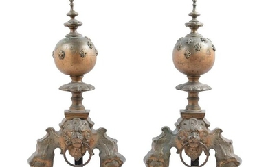 A Pair of Louis XVI Style Bronze Chenets