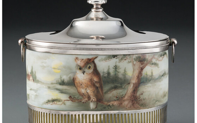 A Pairpoint Painted Glass and Silver-Plated Cracker Jar (late 19th century)