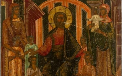 A RARE ICON SHOWING CHRIST 'LET THE CHILDREN COME TO