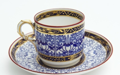 A ROYAL WORCESTER 'ROYAL LILY' DEMI TASSE COFFEE CUP AND SAUCER, LEONARD JOEL LOCAL DELIVERY SIZE: SMALL