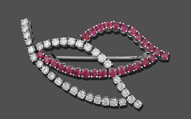 A Ruby and Diamond Brooch, in the form of two...