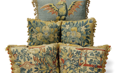 A TAPESTRY CUSHION WORKED WITH THE WELSH DRAGON, LATE 17TH/EARLY 18TH CENTURY