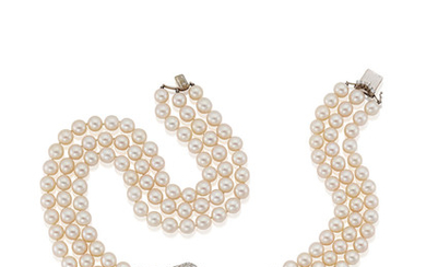 A Three-Strand Cultured Pearl and Diamond Choker and Bracelet Suite