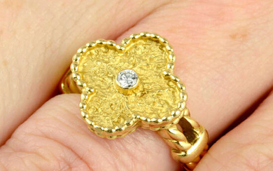 A brilliant-cut diamond and textured 'Vintage Alhambra' ring, by Van Cleef & Arpels.