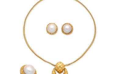 A cultured mabé pearl pendant necklace, and a cultured mabé pearl ring and earclip suite
