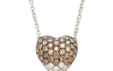 A diamond and colored diamond heart pendant necklace