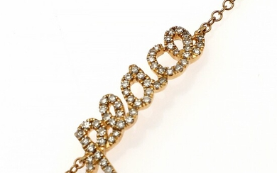 A diamond bracelet set with numerous single-cut diamonds weighing a total of app. 0.16 ct., mounted in 18k gold. L. 15.5, 17 and 18 cm.