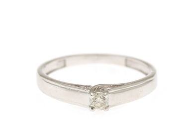 A diamond solitaire ring set with a brilliant-cut diamond, app. 0.10 ct., mounted in 14k white gold. Size 53.