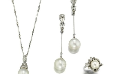 A group of cultured South Sea pearl and diamond jewelry