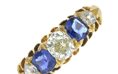 A late 19th century 18ct gold sapphire and old-cut
