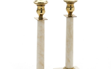 A pair of Swedish 19th century marble candlesticks with brass mountings. H. 28 cm. (2)...