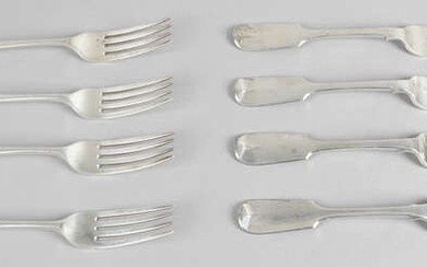 A selection of silver forks, to include a Newcastle example.