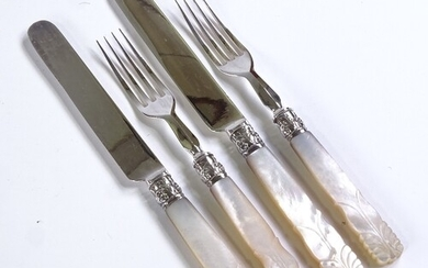 A set of Victorian plated dessert knives and forks for 12 pe...