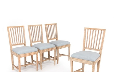 A set of four painted Gustavian side chairs. Sweden, late 18th century. (4).