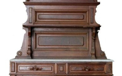 AMERICAN ANTIQUE WALNUT FINE MARBLE TOP SERVER