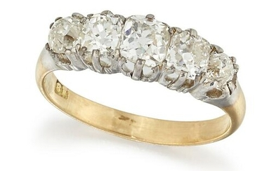 AN 18CT FIVE STONE DIAMOND RING, the graduated old mine