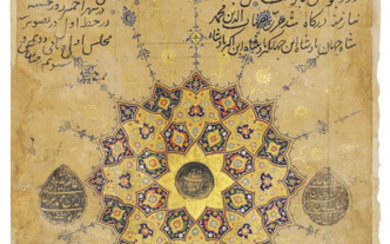 AN ILLUMINATED FOLIO FROM A ROYAL MANUSCRIPT OF THE DIWAN OF ANWARI, SIGNED MANSUR NAQQASH, AJMER, MUGHAL INDIA, DATED AH 1025/1616 AD