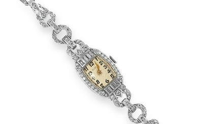 ART DECO DIAMOND COCKTAIL WATCH set with transitional