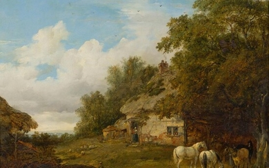 ATTRIBUTED TO PATRICK NASMYTH (SCOTTISH 1787-1831) COUNTRY COTTAGE WITH HORSES