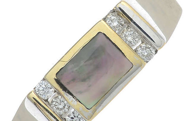 An 18ct gold mother-of-pearl and diamond dress ring,.