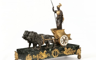 An Empire style bronze and marble mantel