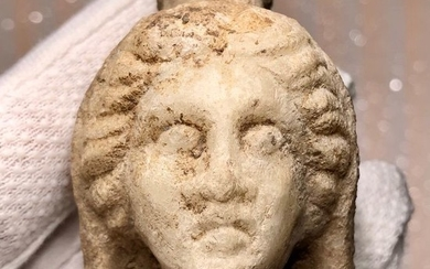 Ancient Roman Marble Veiled head of a Fortuna the goddess of Luck or Tyche (the greek equivalent) wearing Kalathos.
