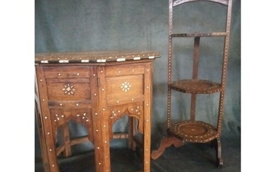 And Early 20th Century Indian hardwood and bone inlaid occas...