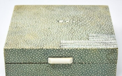 Antique Art Deco Shagreen & Bone Jewelry Table Box