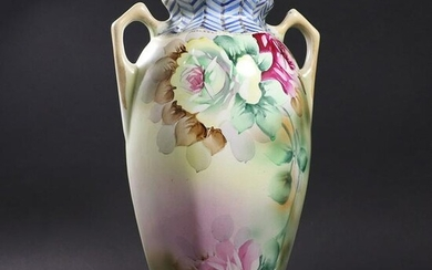 Antique Porcelain Handled Vase, Hand Painted Flowers