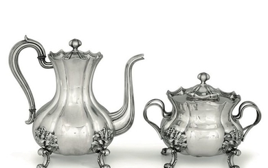 Antique Silver Teapot and Box for Biscuits (2) - .800 silver - Torino - Italy - Mid 19th century